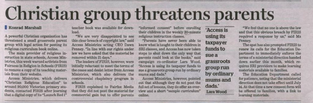 2014.05.31.Christian group threatens parents - THE AGE
